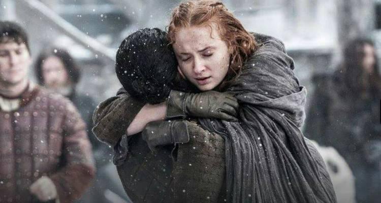 Jon Snow and Sansa Stark hug