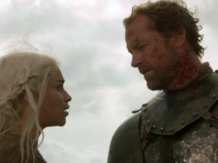 Jorah Mormont and Daenerys Targaryen gaze at each other
