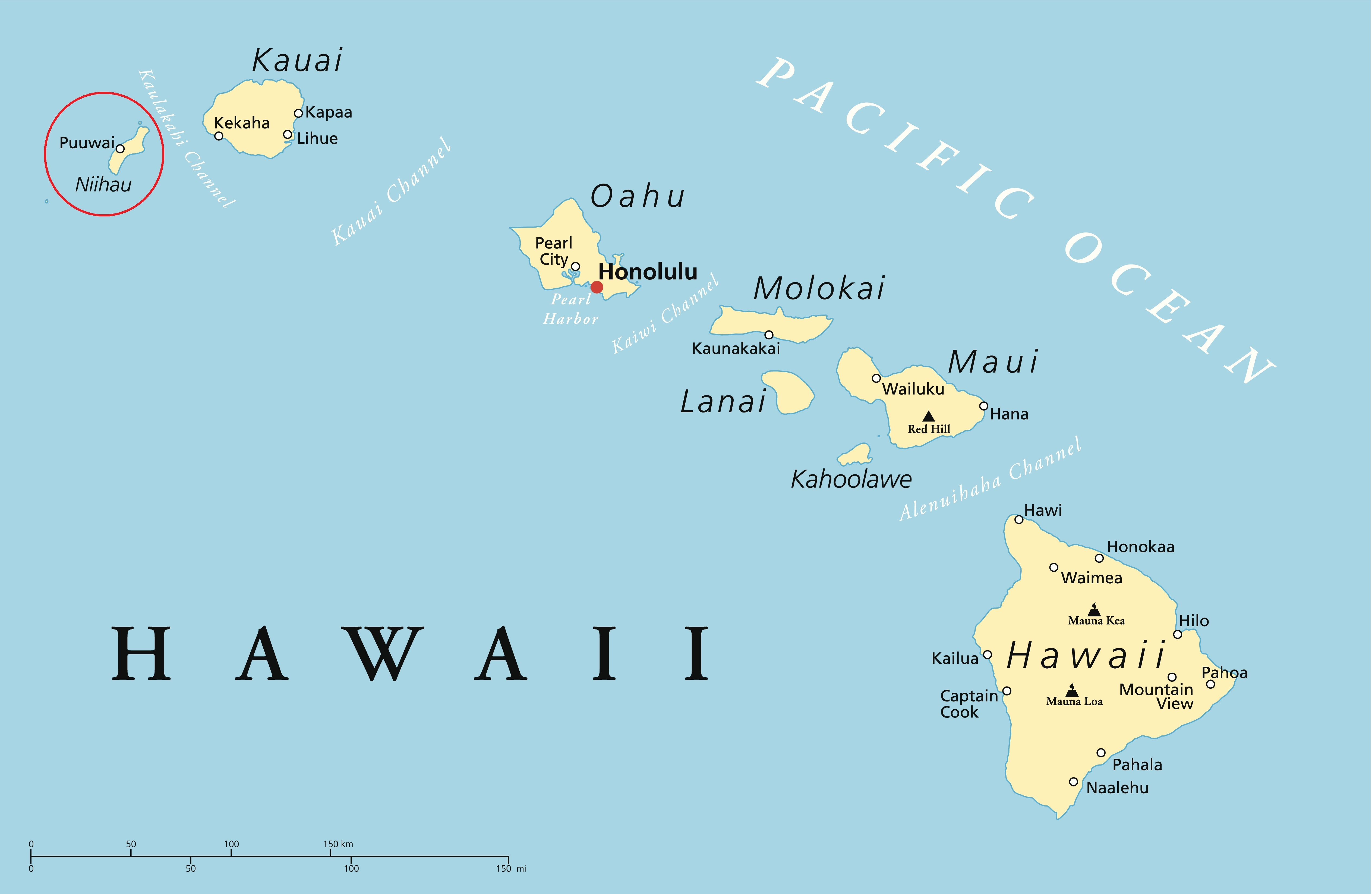 Political map of Hawaii