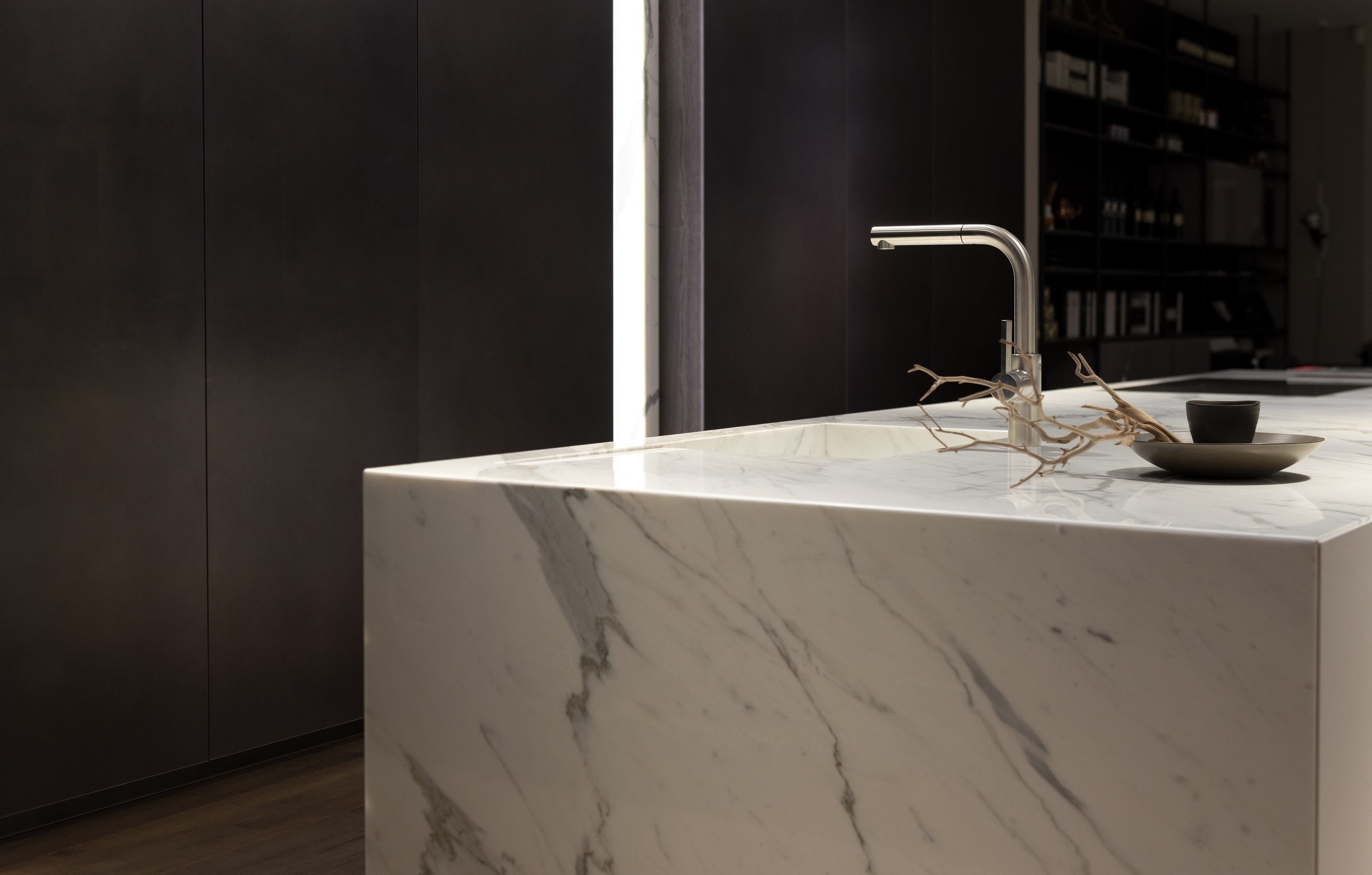 White marble countertop on dark background