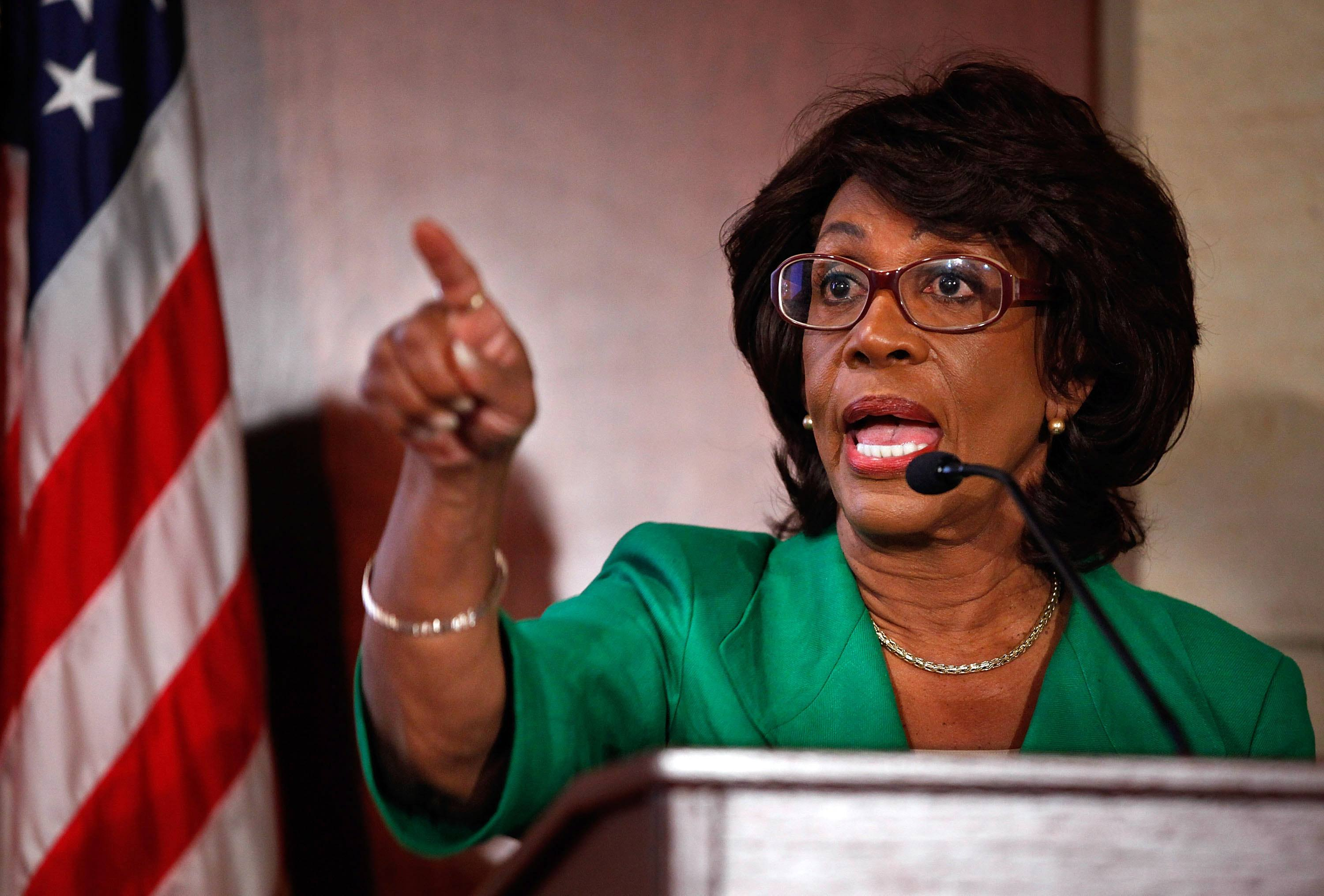 Maxine Waters speaking at a press conference