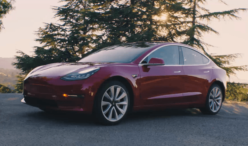Screenshot of red Tesla Model 3