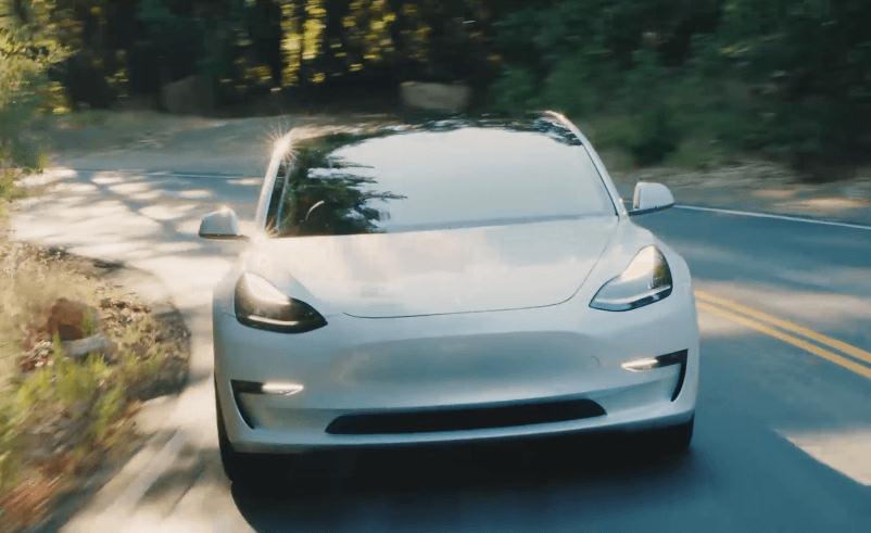 Screengrab of white Tesla Model 3