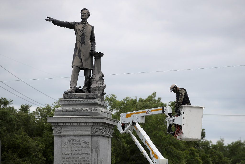 Statue of Jefferson Davis coming down