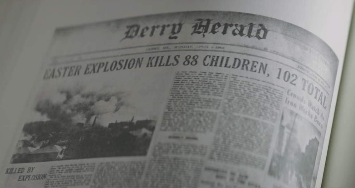 A newspaper details a story of a fatal explosion