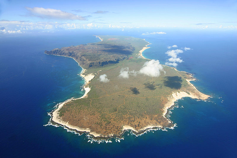 Island of Niihau seen from a helicopter