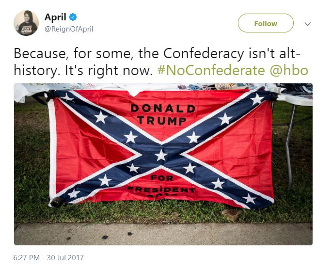 "A tweet with an image of a confederate flag that reads ""Donald Trump for President"""