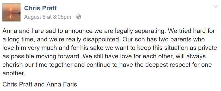 A Facebook post from Chris Pratt announcing his separation