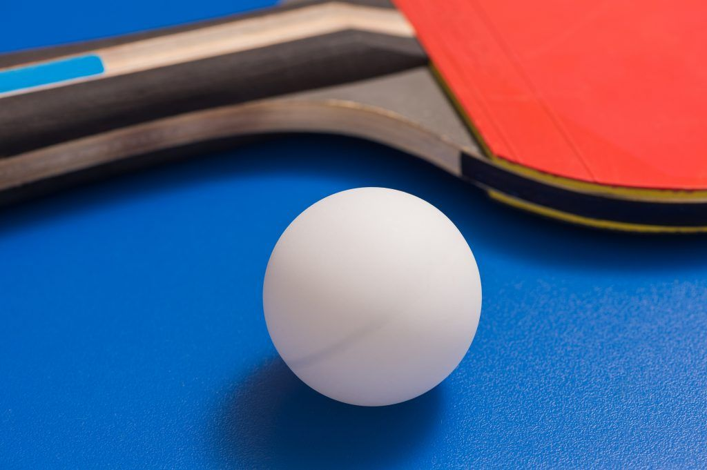 Ping pong ball with table