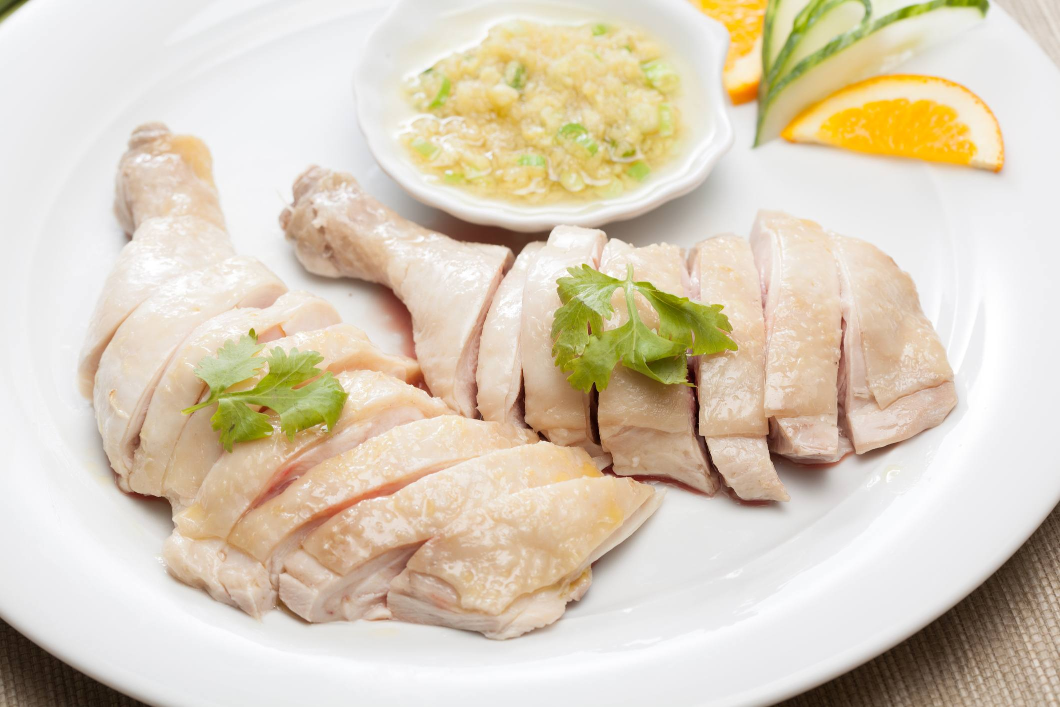 Poached chicken with ginger