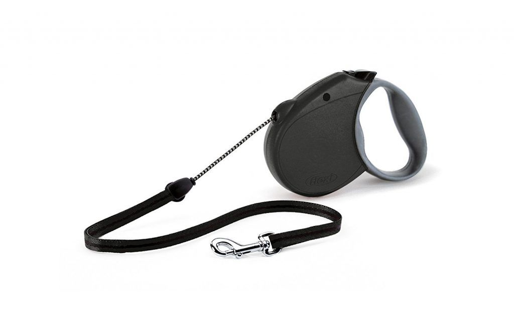 Black retractable cord dog leash