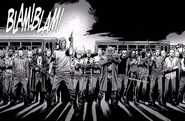 Rick fires his gun into the air while standing in front of members of Alexandria, the Hilltop and the Kingdom in 'The Walking Dead' comic series.