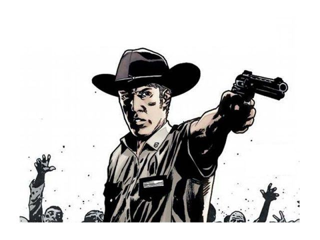 Rick Grimes, wearing his sheriff's uniform, points a gun in an image from the comics.
