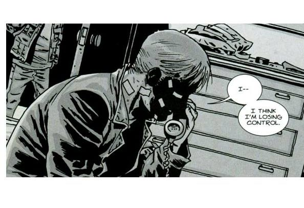 Rick Grimes on the phone in 'The Walking Dead' comics.