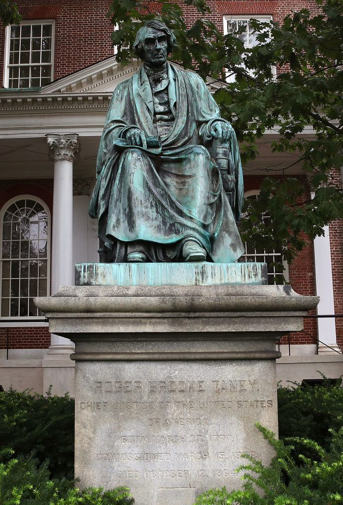 Statue of Judge Robert Taney in front of the courthouse