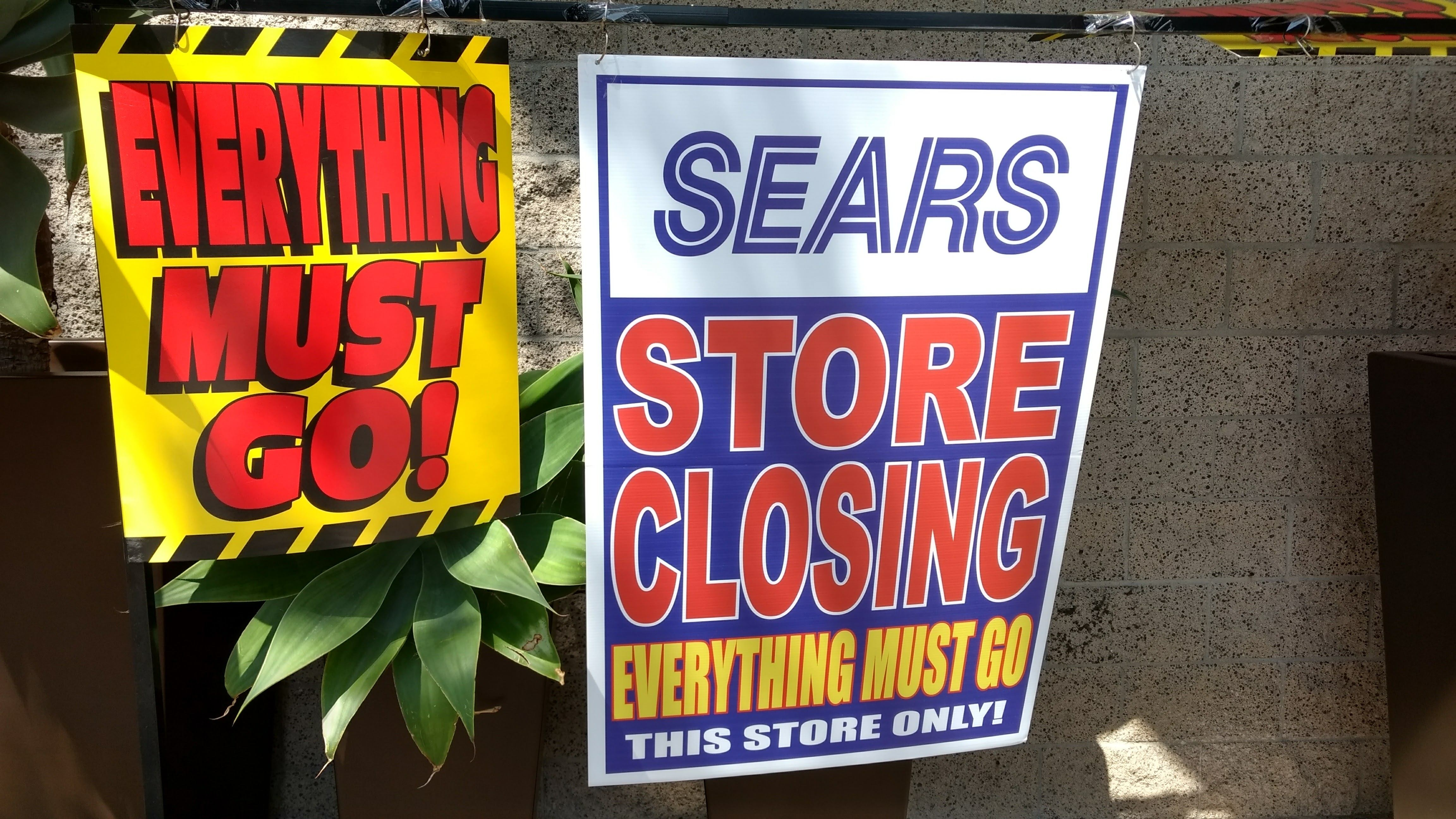 Sears going out of business signs