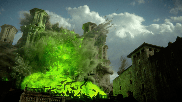 The Sept of Baelor explodes with wildfire in a scene from season six of 'Game of Thrones.'