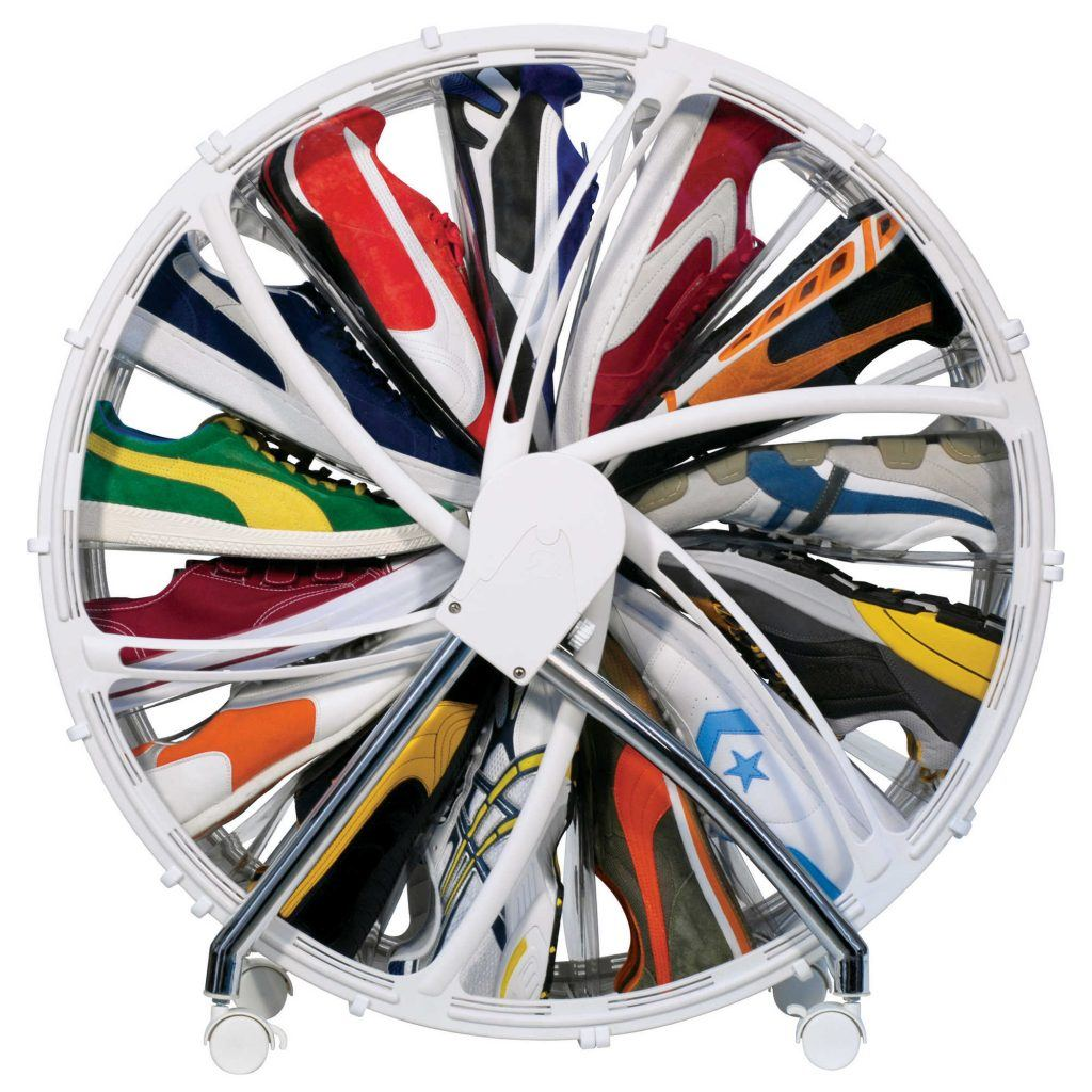 Rakku Shoe Wheel Spinning Rack in White