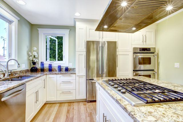 Modern kitchen with granite counters