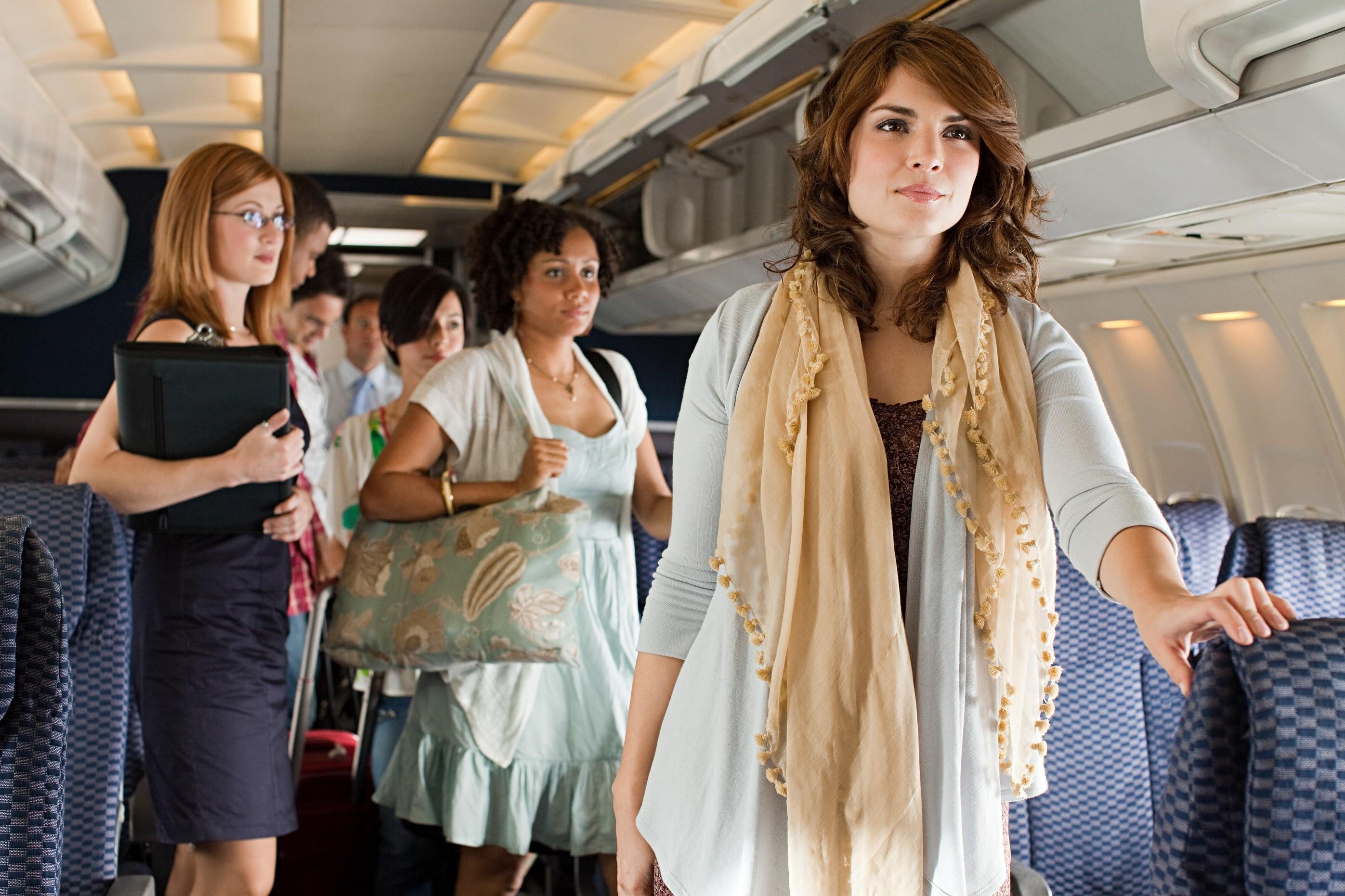 Women standing in a plane