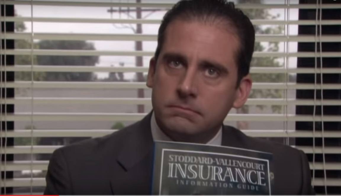 """The Office"" Michael Scott holding health care plan"
