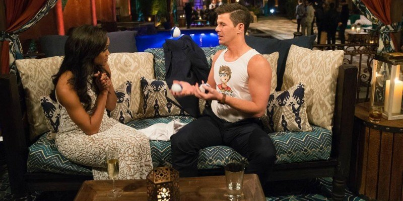 Lucus is talking to Rachel Lindsay on The Bachelorette.