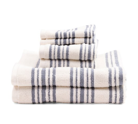Creme and blue bath towels