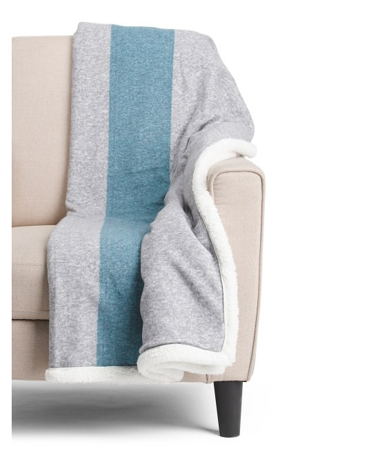Blue and gray striped throw