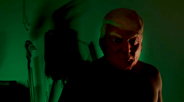 A figure wears a Donald Trump mask in 'American Horror Story Cult'.