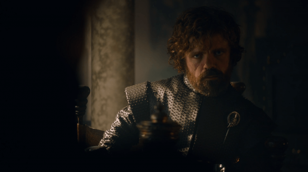 Tyrion speaks to Cersei on Game of Thrones.