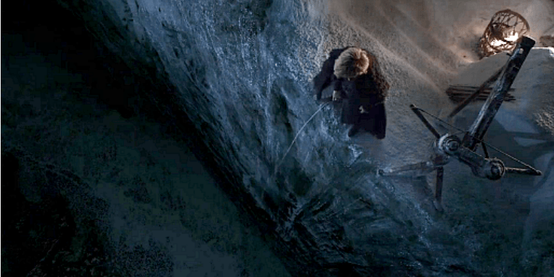 Tyrion is peeing off the edge of The Wall.