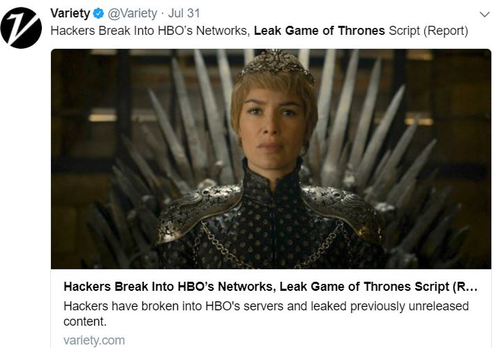 An image of a tweet from Variety about the leak featuring an photo from Game of Thrones