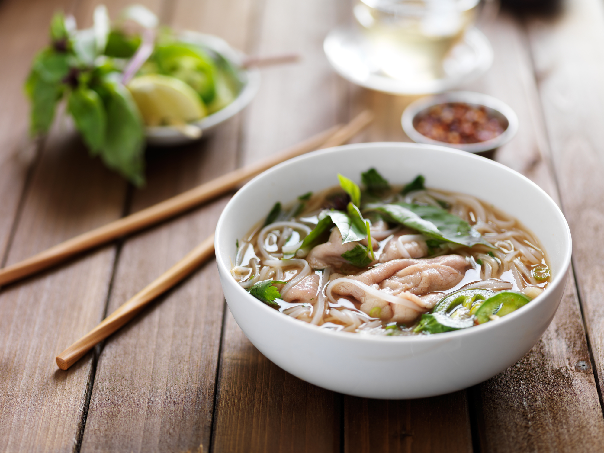 vietnamese beef pho with chopstick