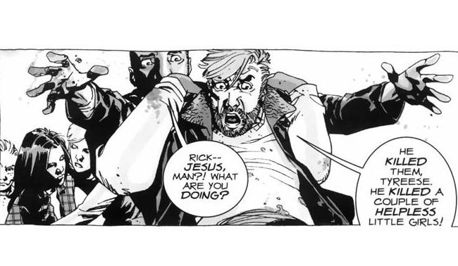 Tyreese holds Rick back from attacking someone in a frame from 'The Walking Dead' comics.
