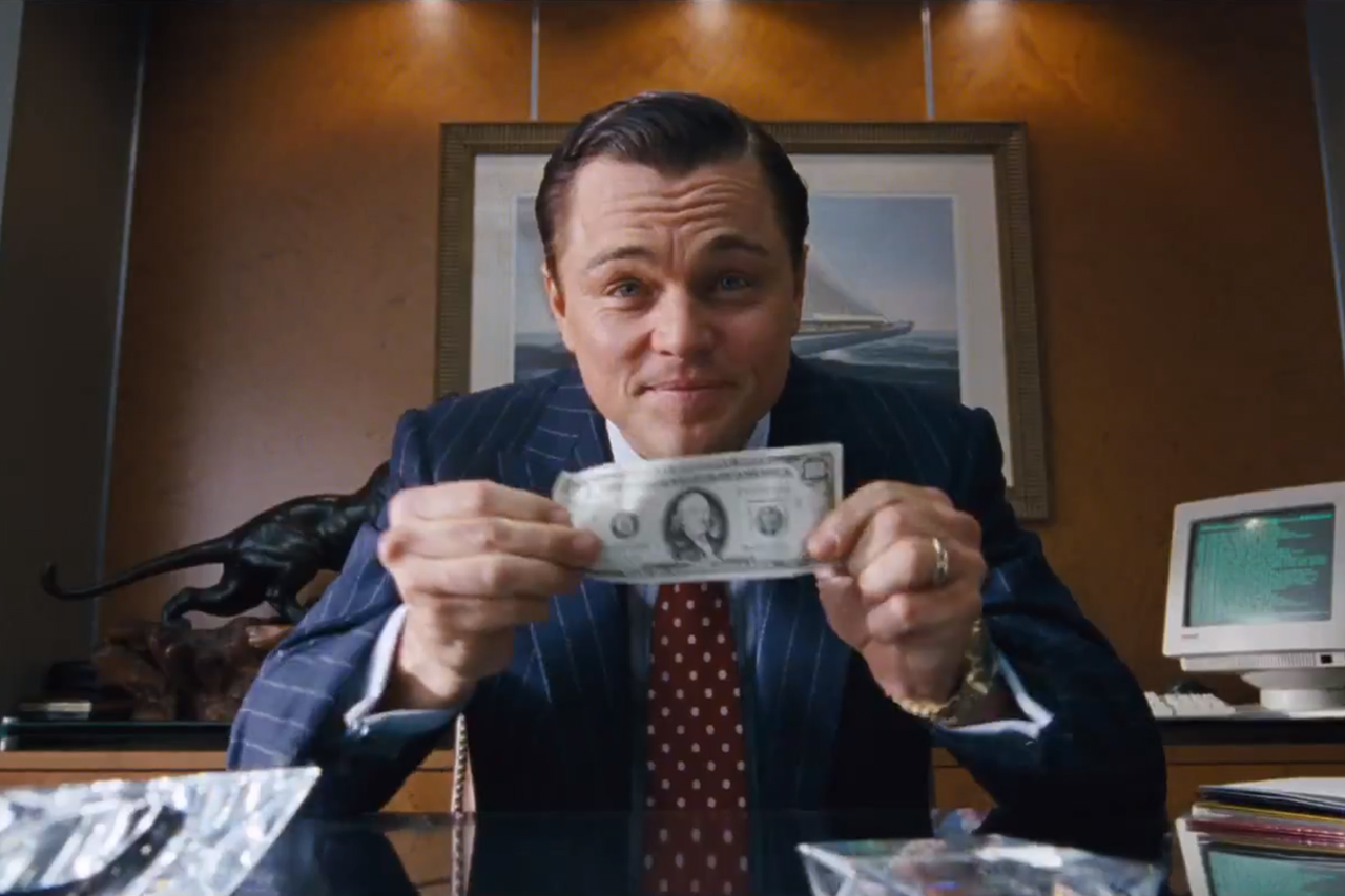 Wolf of wall street with money