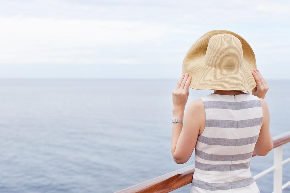 young woman at cruise ship