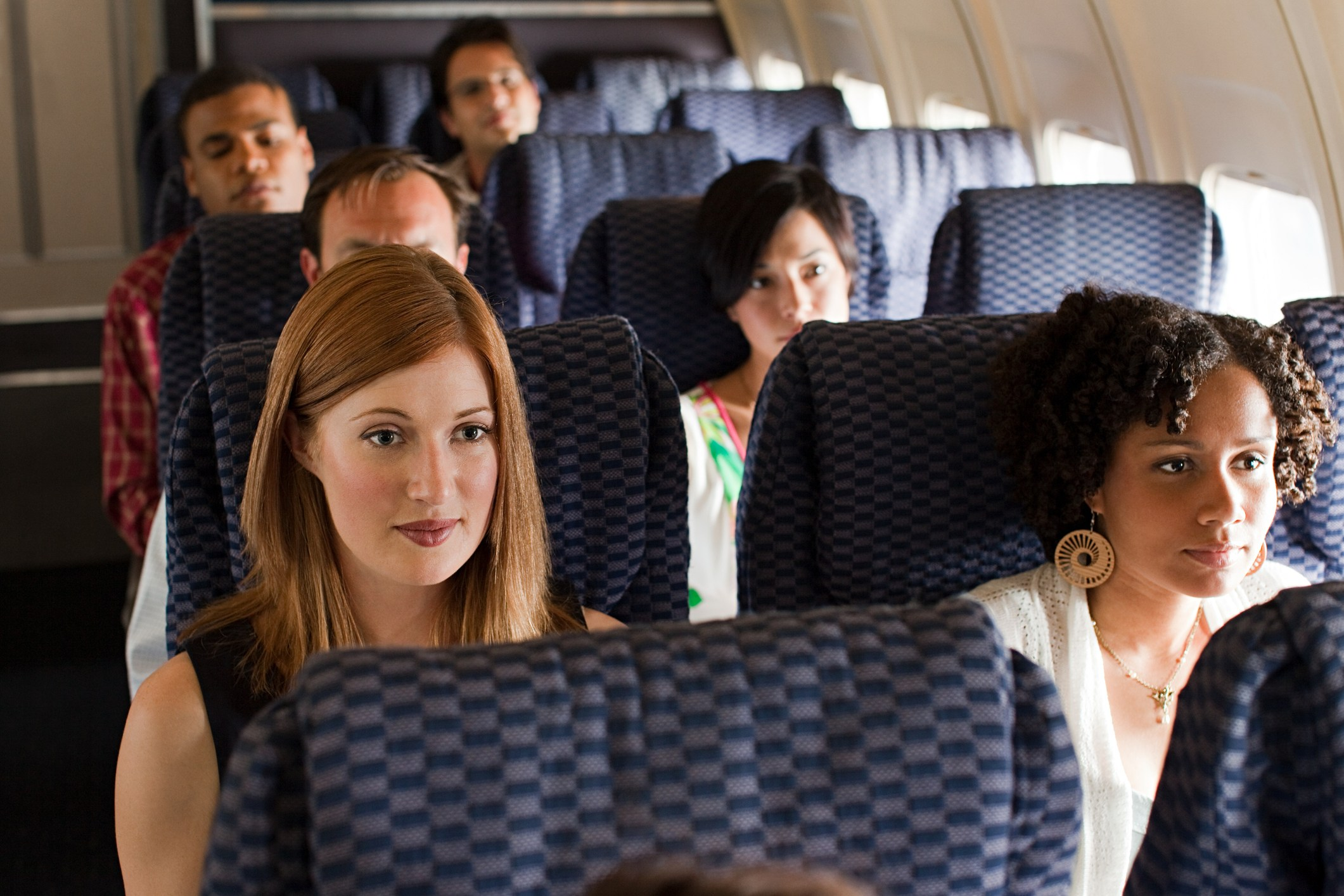 Women sitting on an airplane