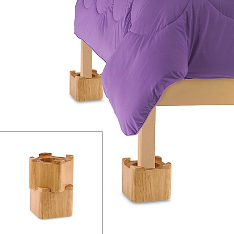 Blond Wooden Bed Lifts (Set of 4)