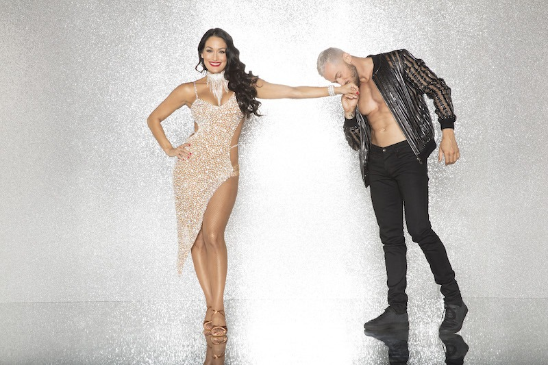 Nikki Bella and Artem Chigvintsev pose on Dancing with the Stars