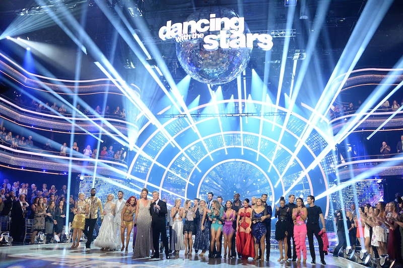 The entire cast of DWTS Season 25 stands on the stage
