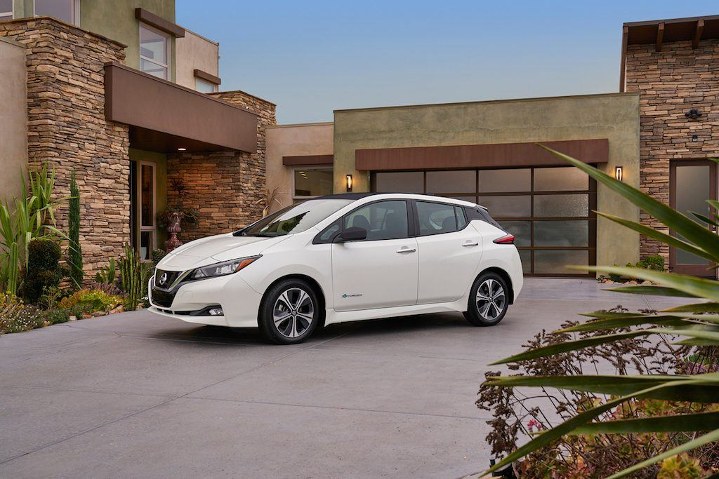 Side view of pre-production 2018 Nissan Leaf in white
