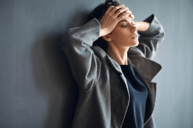 woman acting stressed
