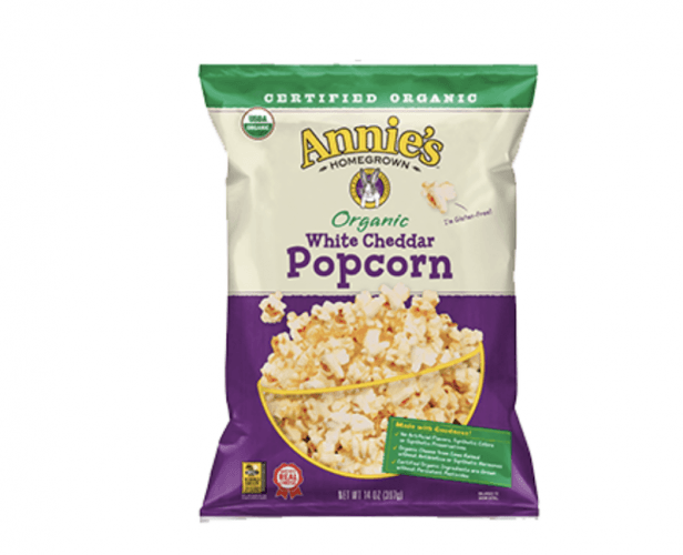 A bag of Annie's Organic White Cheddar Popcorn.