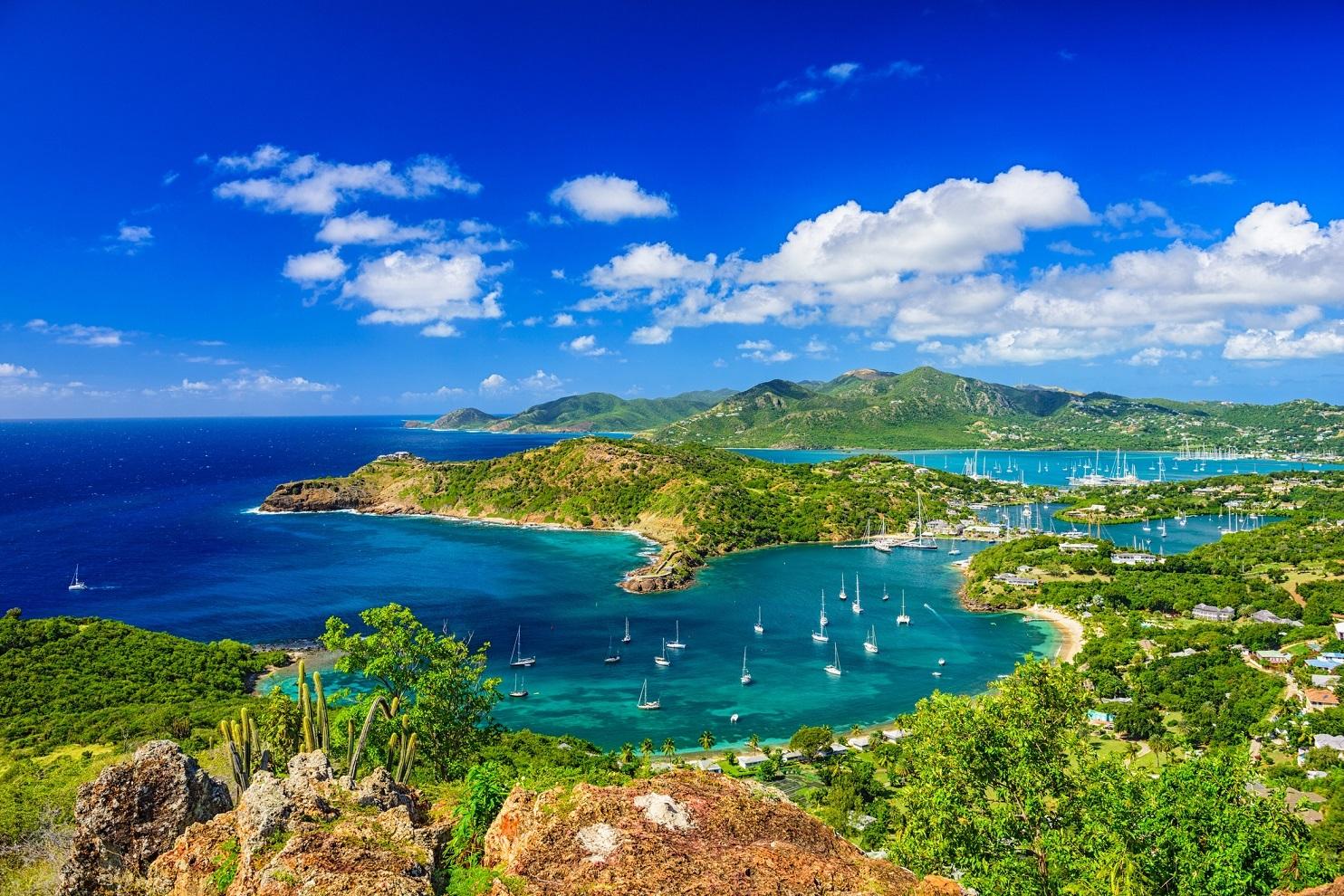 A catamaran on the beach in Antigua