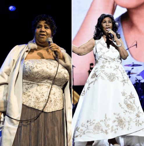Photos of Aretha Franklin performing on stage before and after her weight loss.