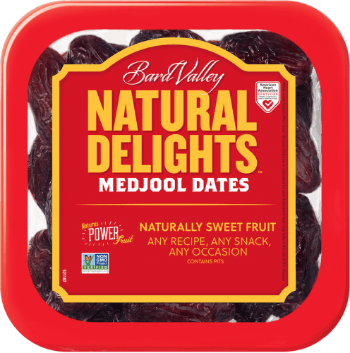 A container of Natural Delights Dates on a white background.