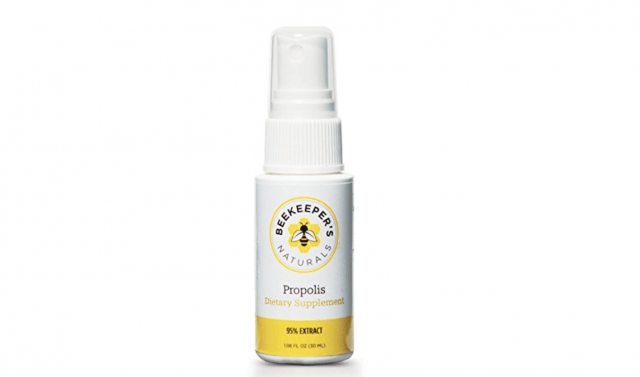 A spray bottle of Propolis dietary supplement.