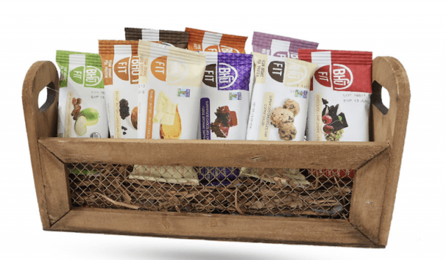 Bhu Protein Bars in a brown basket.