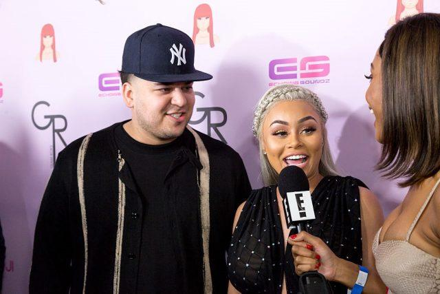 Rob Kardashian and Blac Chyna arrive at her birthday celebration.