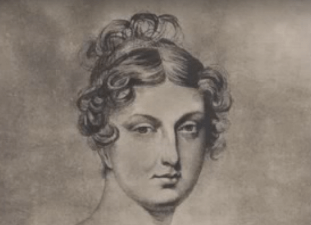 An illustration of Caroline of Brunswick in black and white ink.